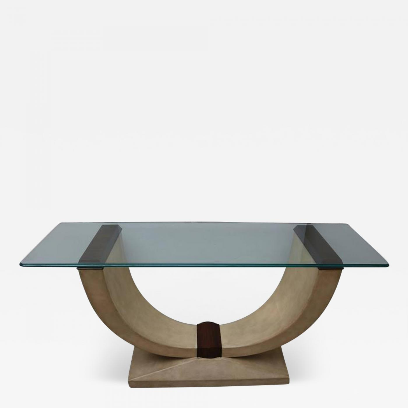 Glass Top Console Table Art Deco Style Console Table In Shagreen Zebra Wood And Glass Top
