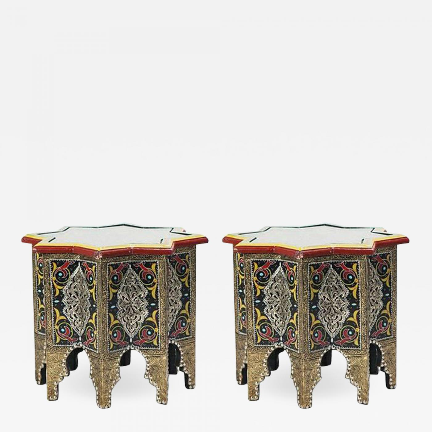 Atlas Showroom Pair Of Hand Painted Brass Inlaid Moorish Side Tables