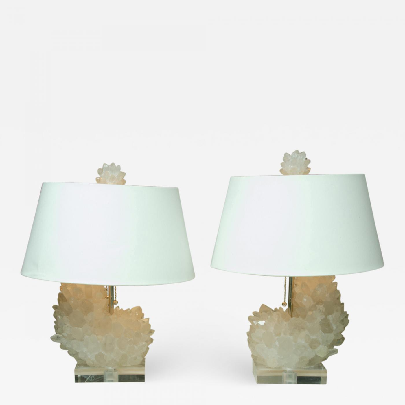 Crystal Lamp Attractive Pair Of Rock Crystal Lamps On Lucite Bases