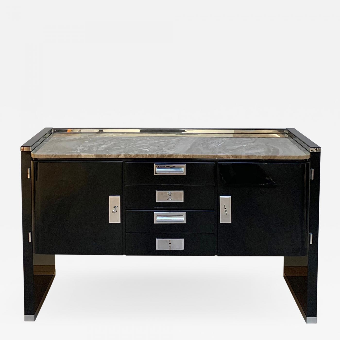 Sideboard Antik Bauhaus Sideboard, Black Lacquer, Nickel And Granite, Germany, 1920s