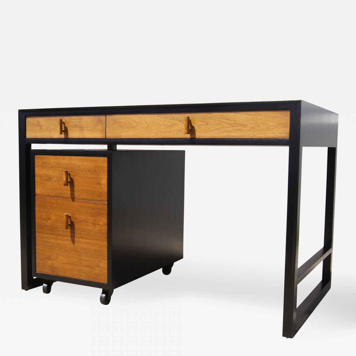 Desk With File Cabinet Edward Wormley Two Tone Desk With Rolling File Cabinet By Edward Wormley For Dunbar