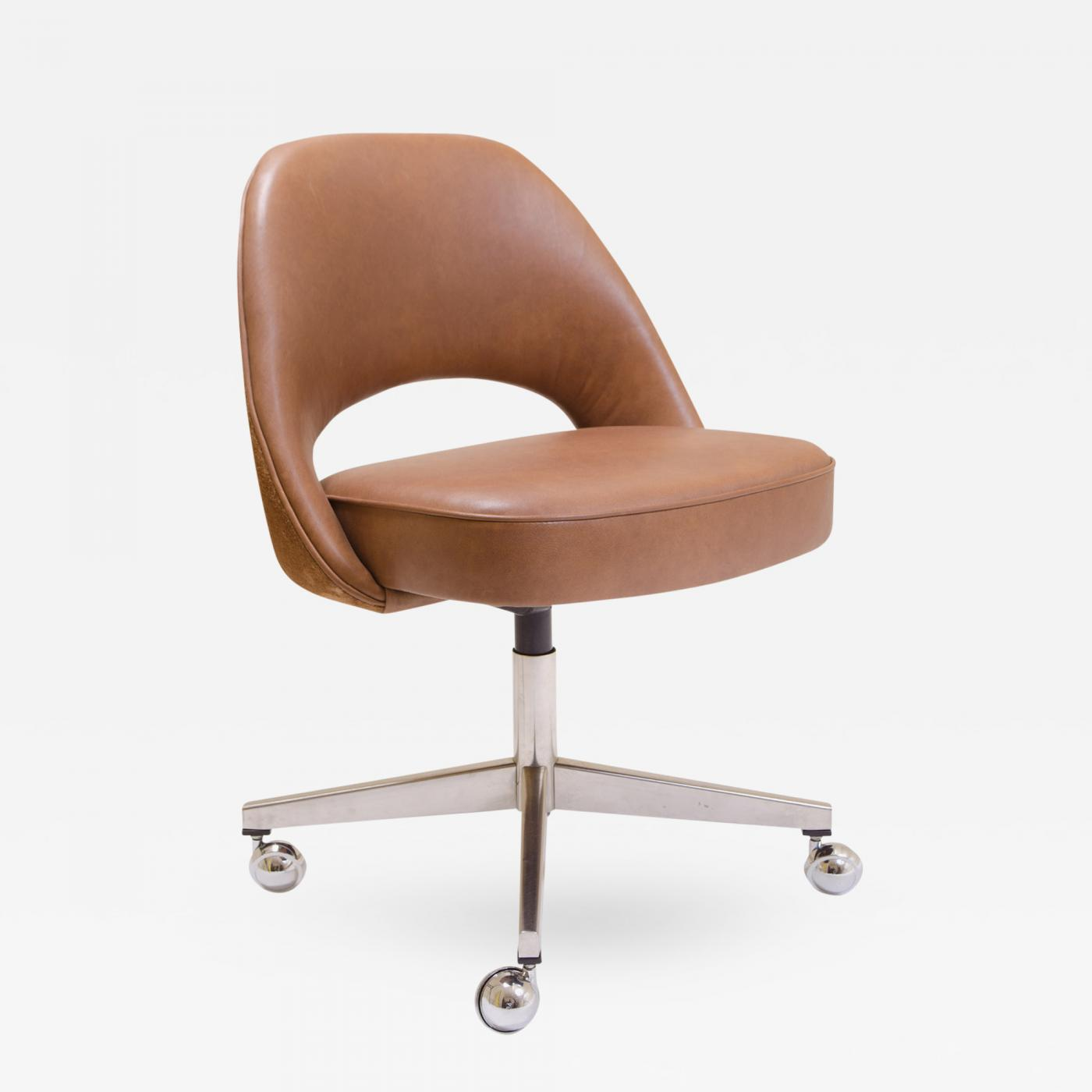 Saddle Office Chair Eero Saarinen Saarinen For Knoll Executive Armless Chair In Saddle Leather Suede Swivel Base