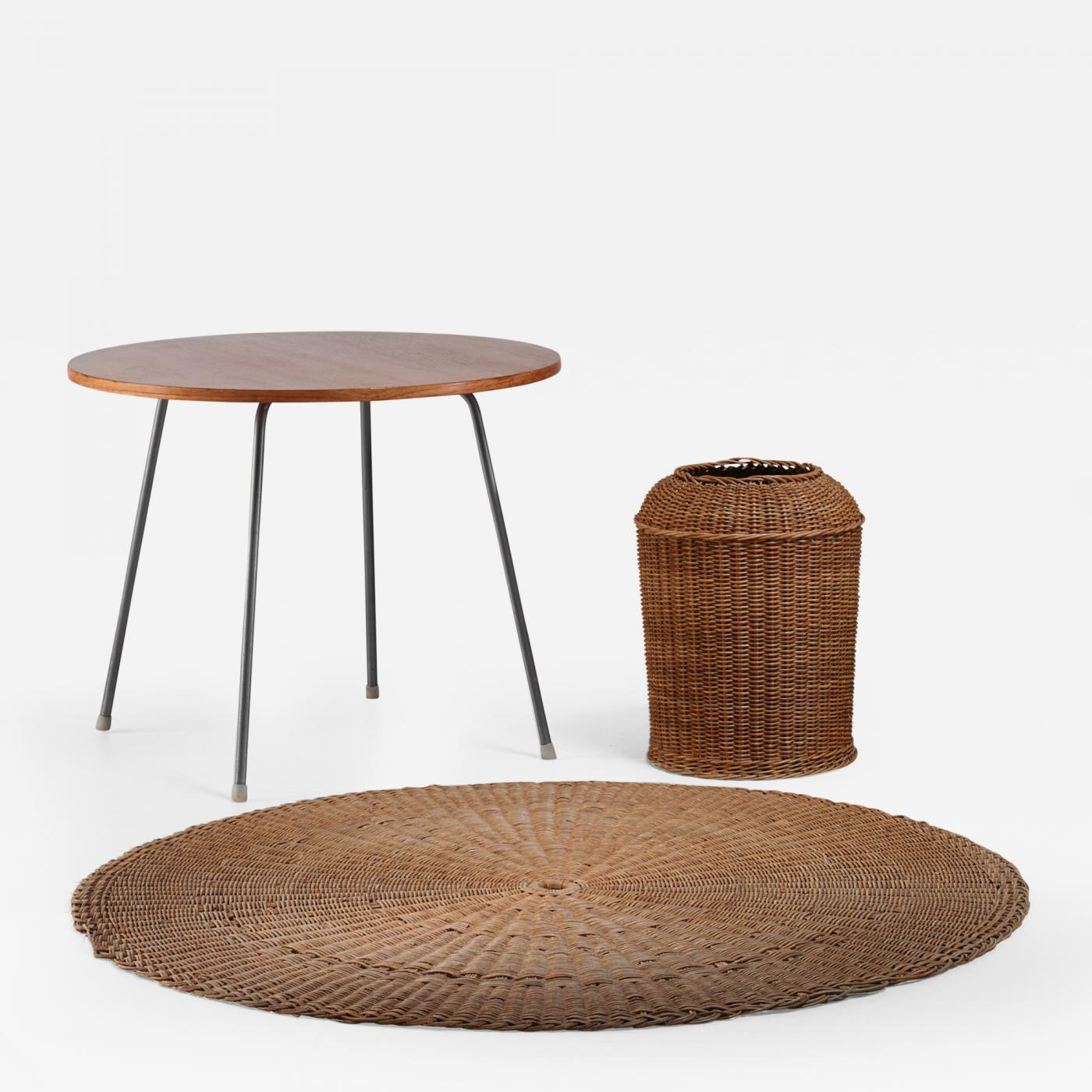 Egon Eiermann Egon Eiermann Egon Eiermann Table With Wicker Basket And