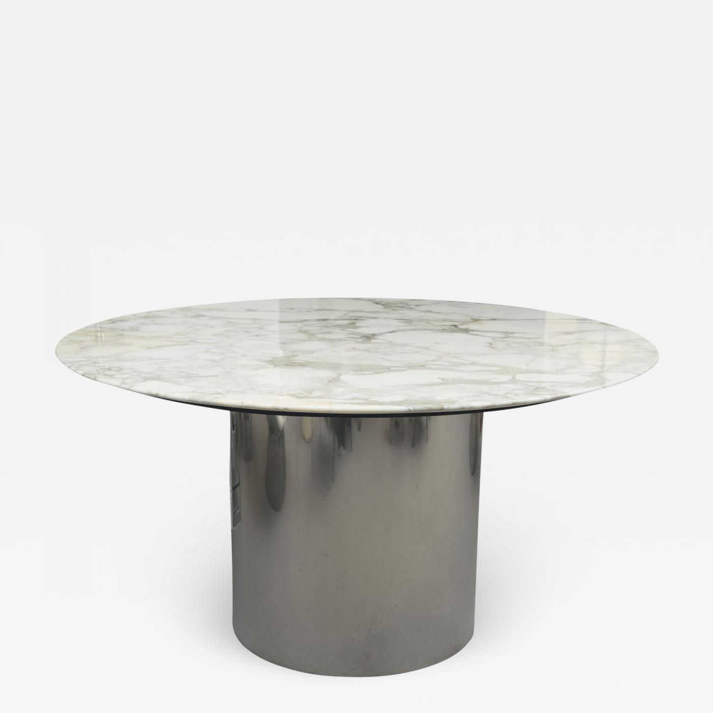 Knoll Table Florence Knoll Knoll Arabescato Marble Top Knife Edge Dining Table On Chrome Drum Base