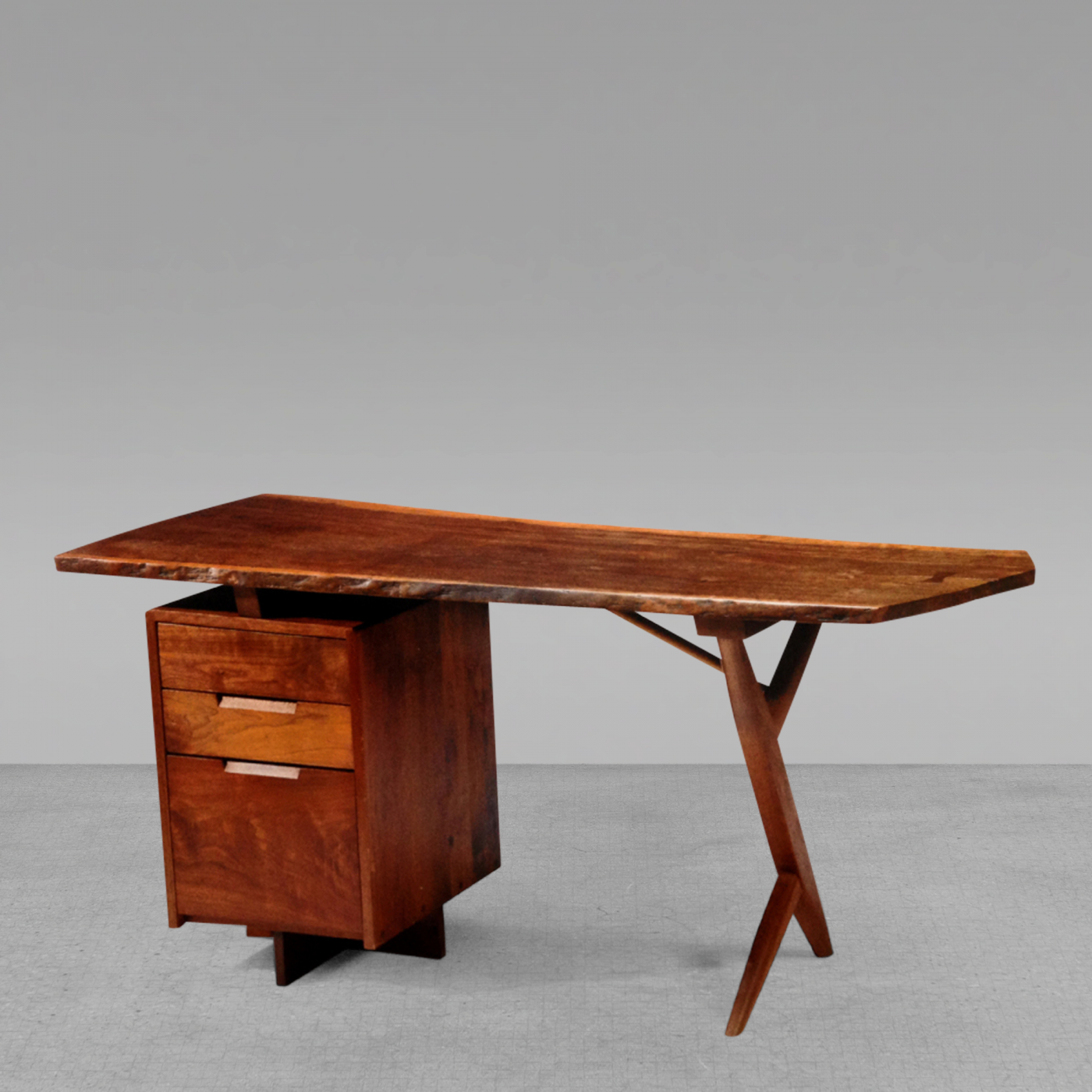 Desks With Drawers George Nakashima Rare Walnut And Laurel Wood Cross Legged Desk With Drawers George Nakashima