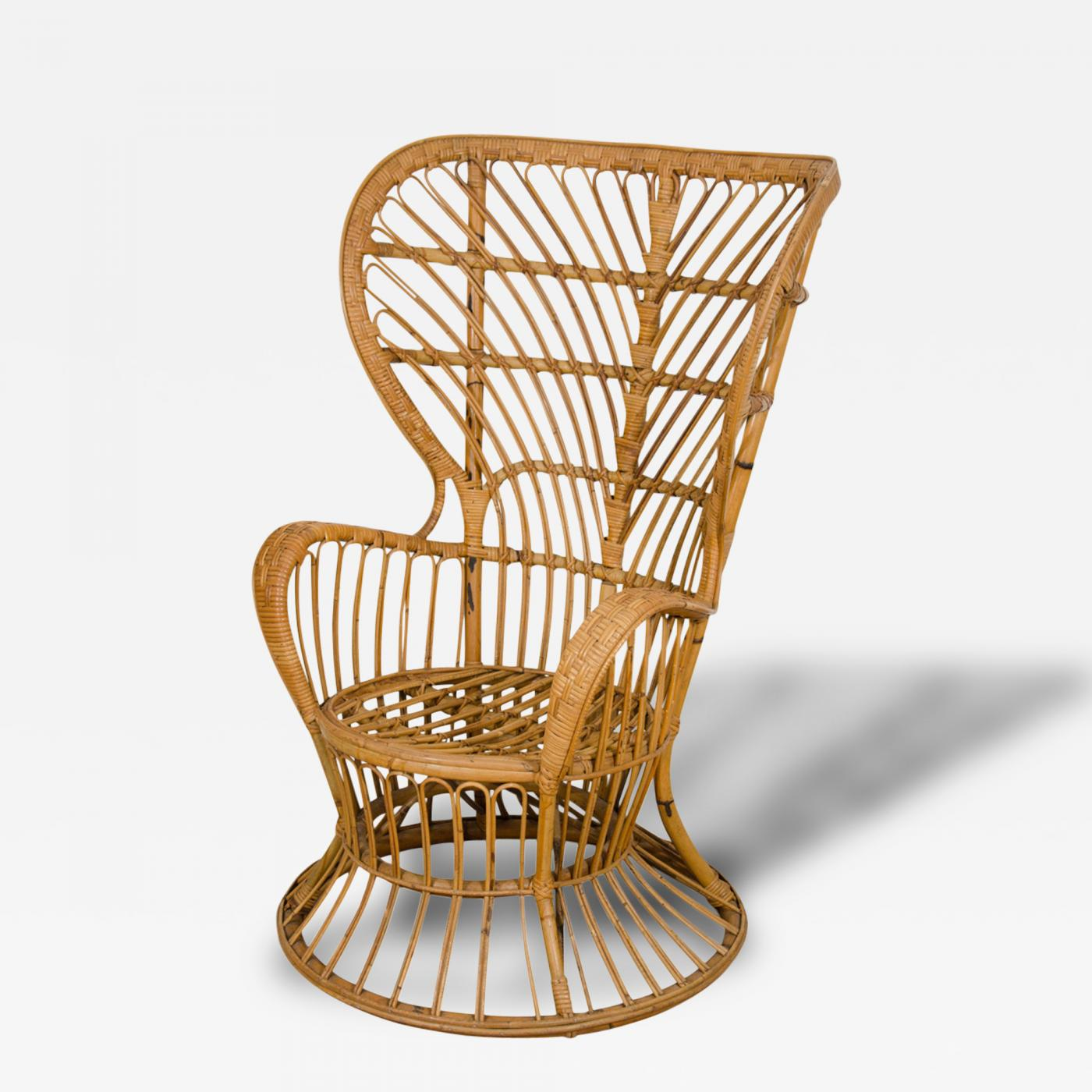 Rattan Chairs Lio Carminati Pair Of Fan Back Rattan Chairs By Gio Ponti