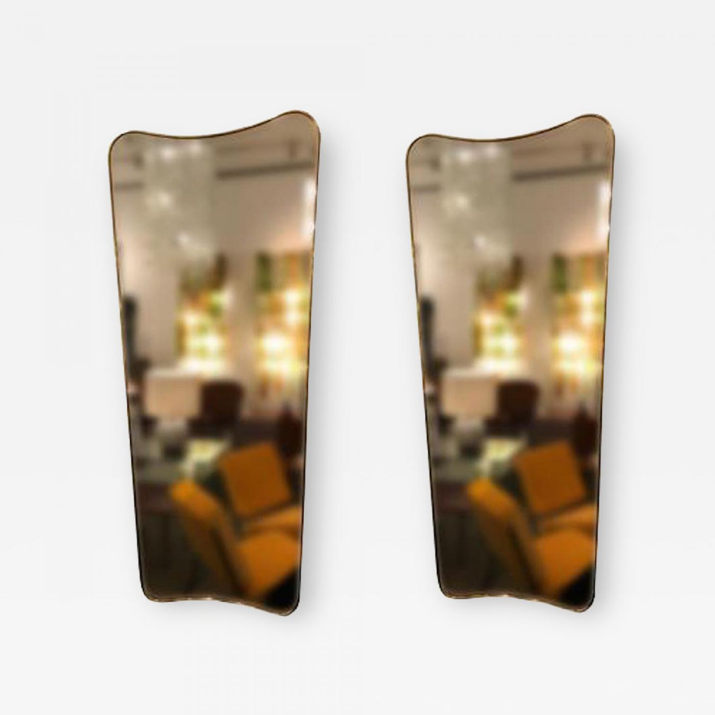 Large Wall Mirrors Gio Ponti Pair Of Large Scaled Mid Century Wall Mirrors In Brass In The Style Of Gio Ponti