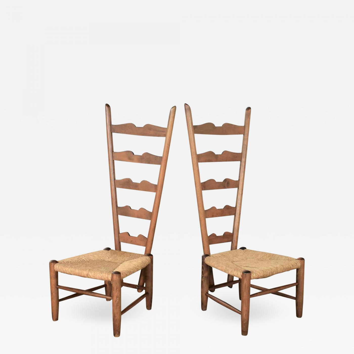 Gio Ponti Vintage Italian Fireside Ladderback Chairs By Gio Ponti For Casa E Giardino
