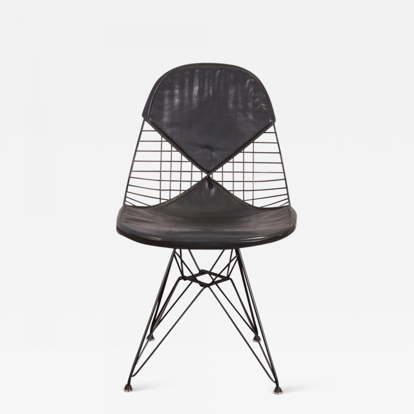 Eames Eiffel Herman Miller Black Eames Wire Chair With Bikini Cover On Eiffel Base