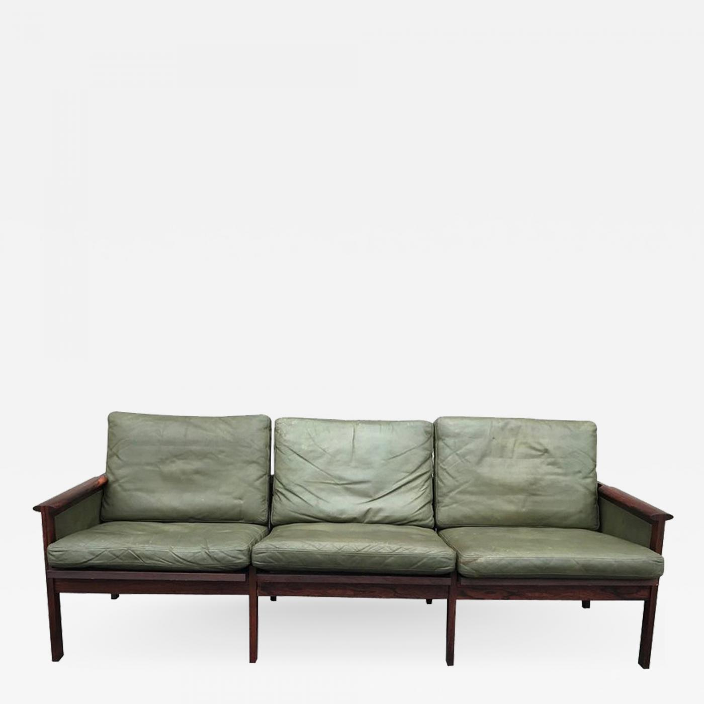 Sofa Vintage A Vendre Illum Wikkelsø Great Leather And Hardwood Sofa By Illum Wikkelso