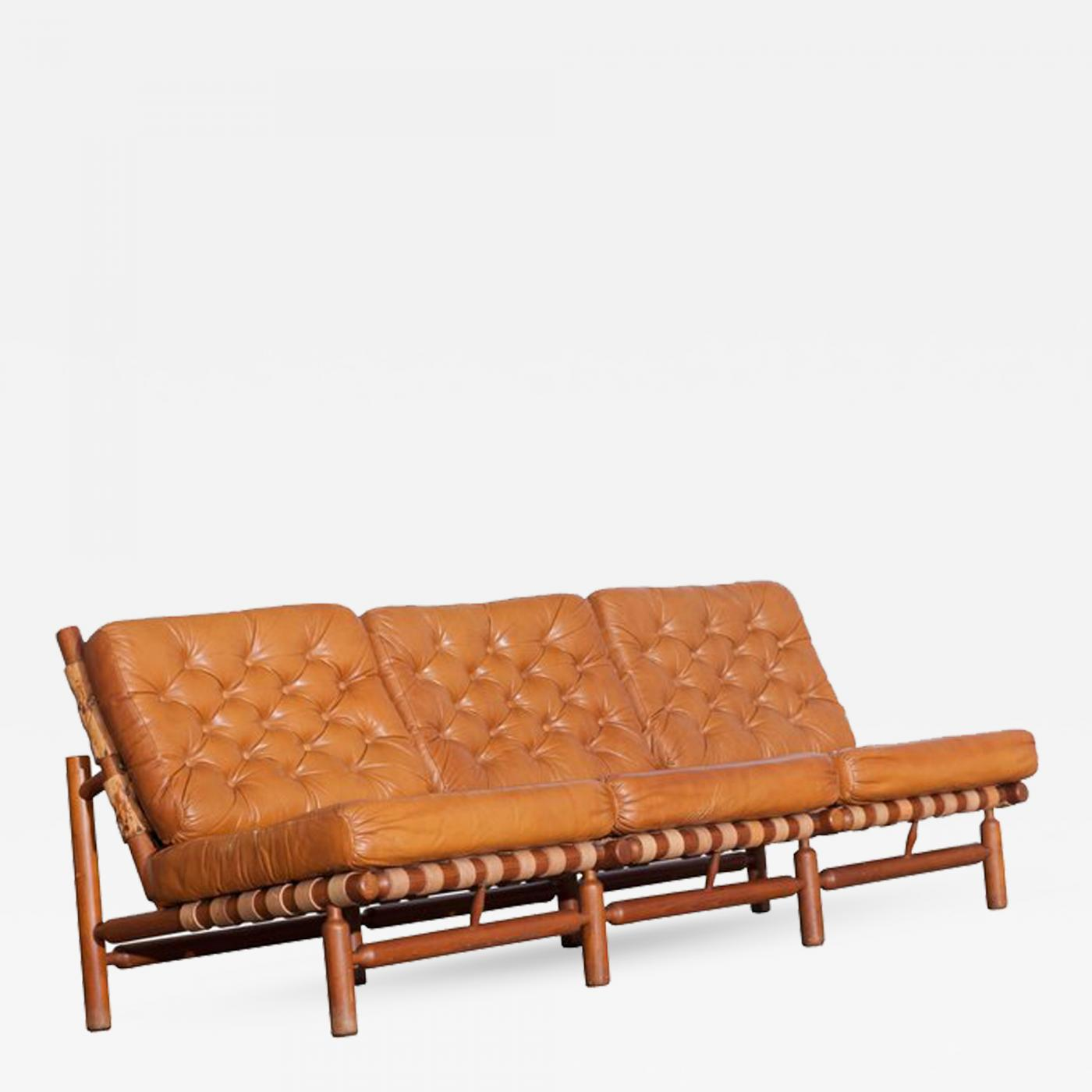 Chaise Tapiovaara Ilmari Tapiovaara Ilmari Tapiovaara Three Seat Sofa In Cognac Leather