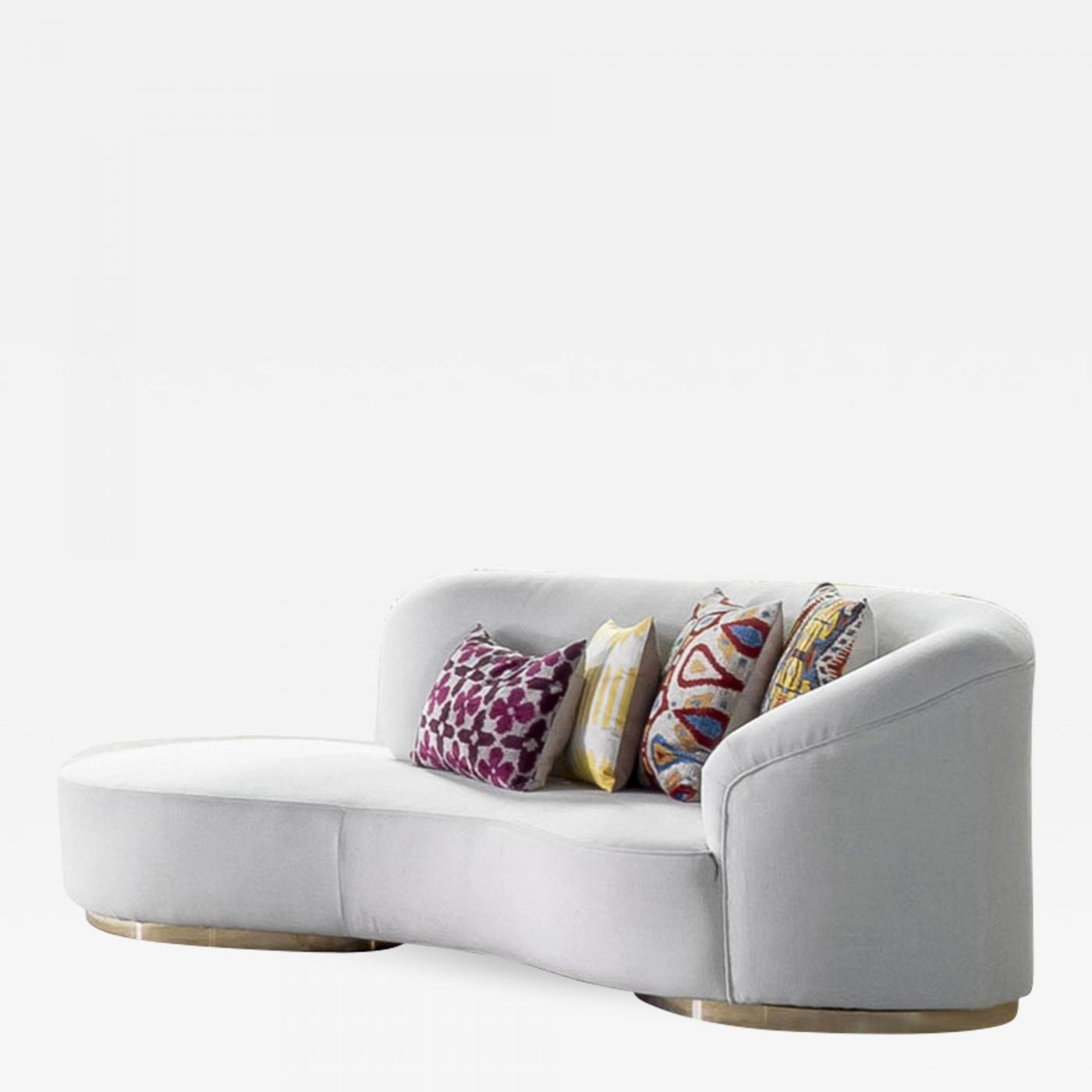 Curved Sofa Contemporary Curved White Linen And Brass Italian Sofa