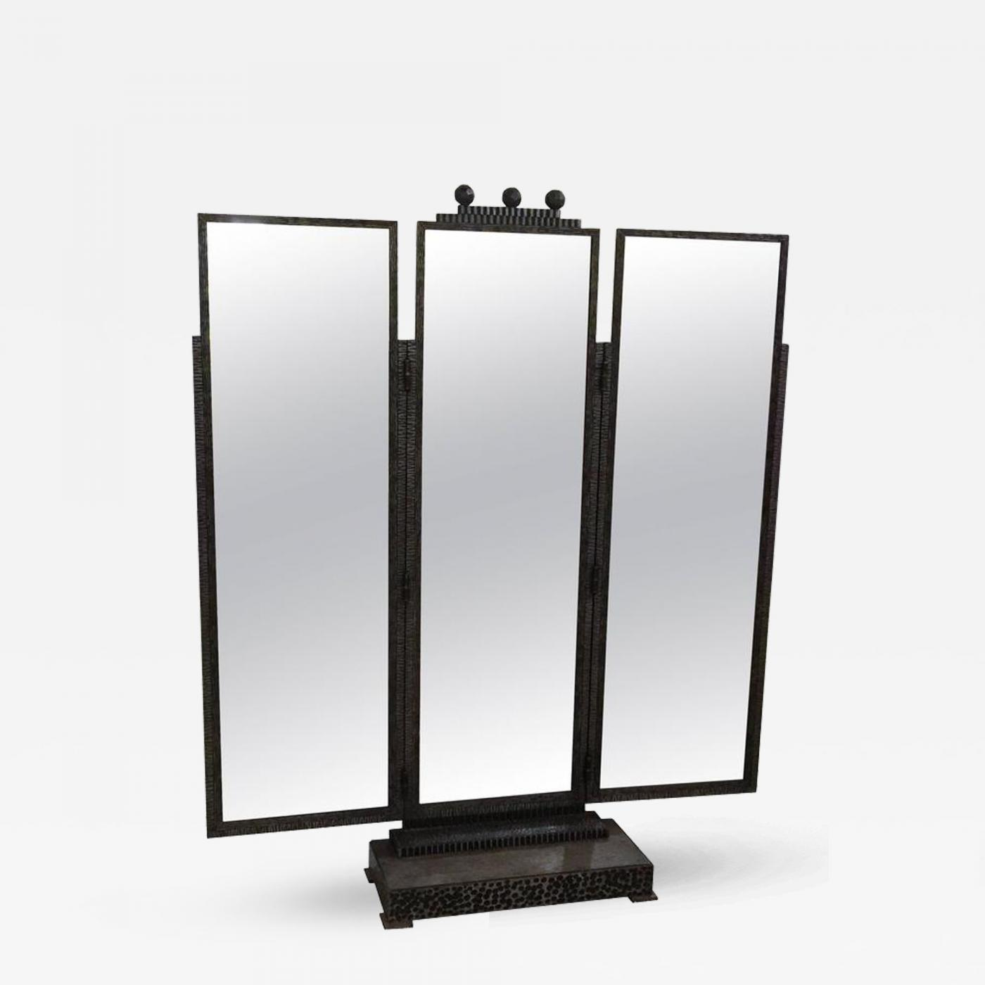 Standing Mirror Jules Bouy Beautiful Jules Bouy Art Deco Wrought Iron Trifold Floor Standing Mirror