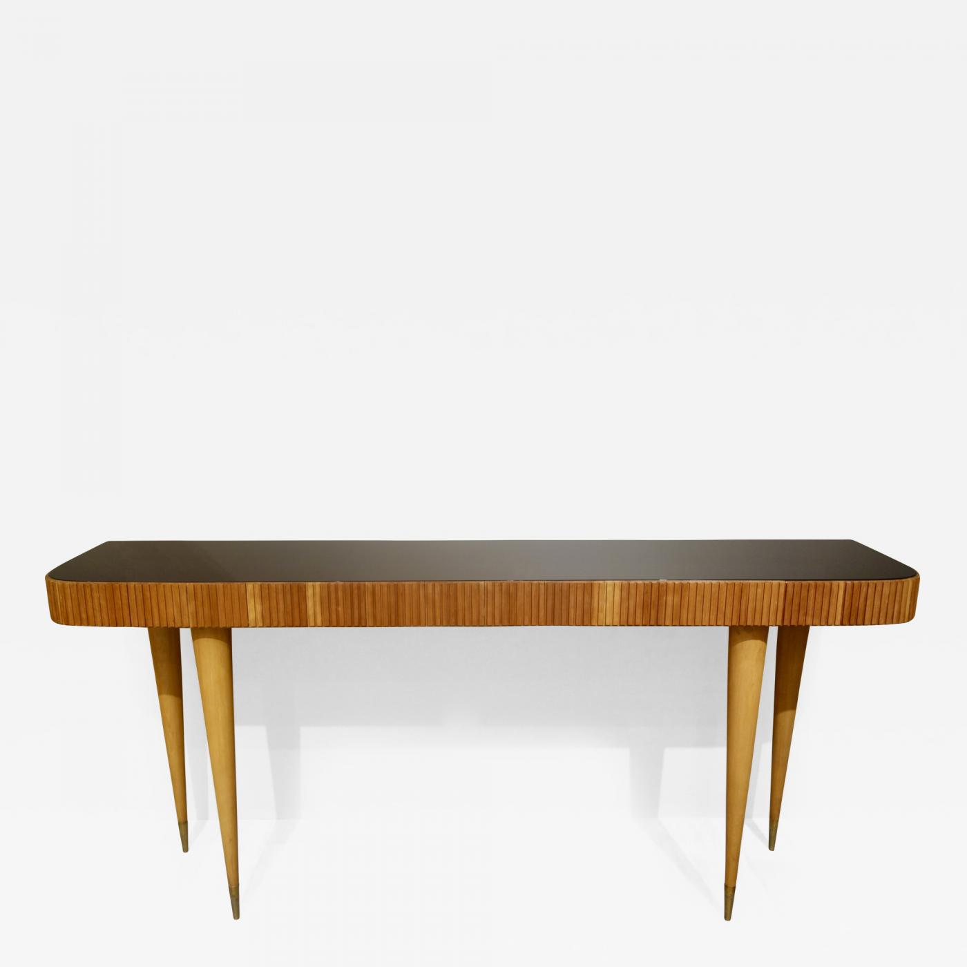 Glass Top Console Table Large Italian Fruitwood Console Table With Black Glass Top Pair Available