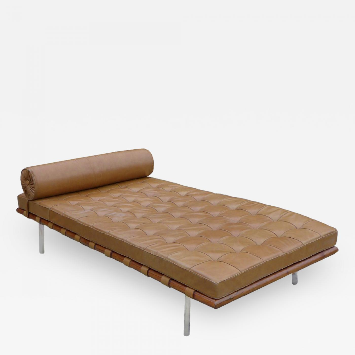 Barcelona Daybed Mies Van Der Rohe Knoll Tan Leather Rosewood Barcelona