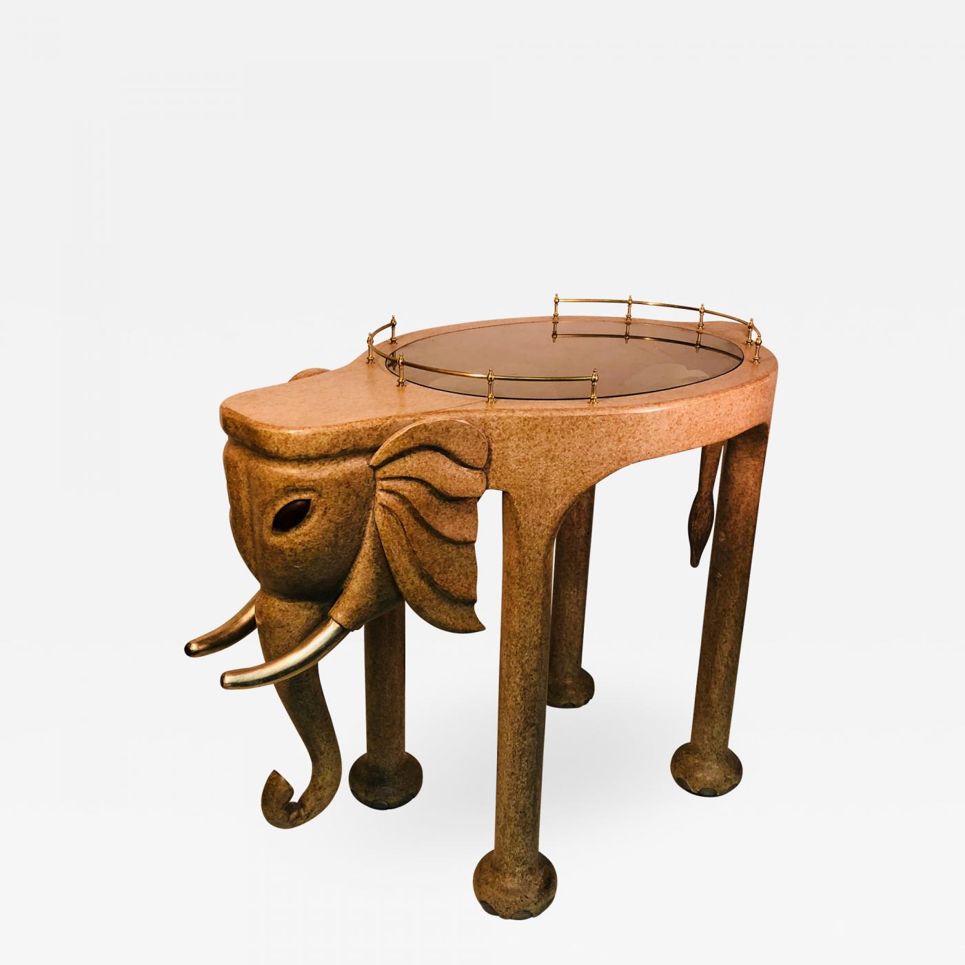 Marge Architecten Marge Carson Monumental Elephant Bar Cart Signed By Marge Carson