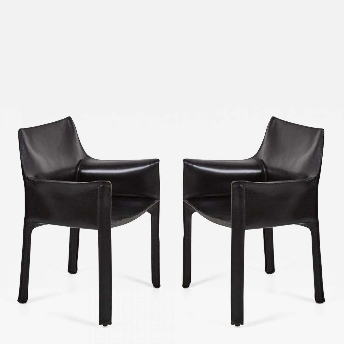Arm Chairs Mario Bellini Pair Of Cassina Cab Arm Chairs By Mario Bellini