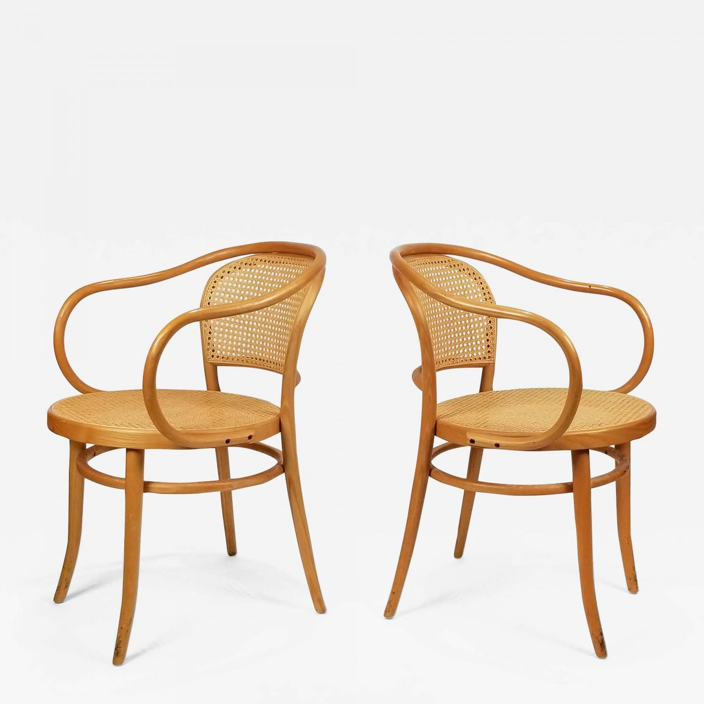 Thonet Michael Michael Thonet Pair Of Michael Thonet Solid Beechwood And Cane No 209 Armchairs