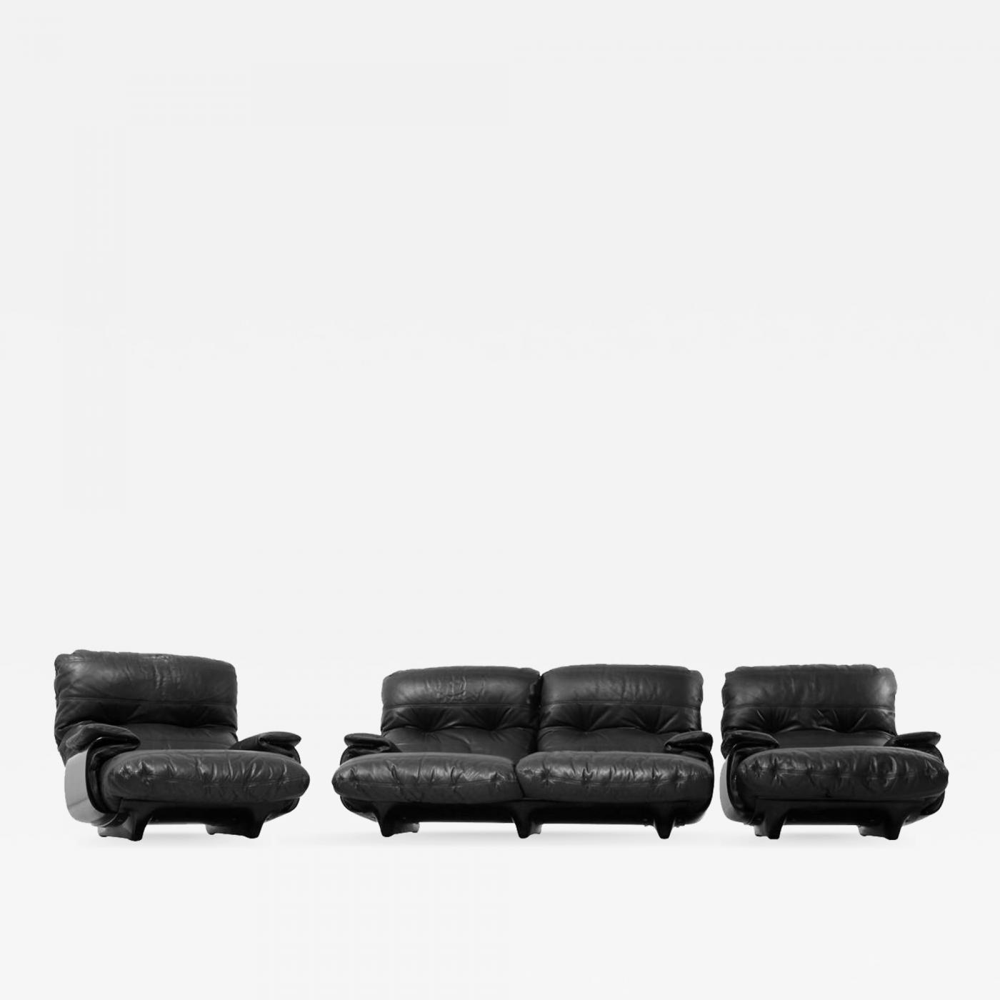Ligne Roset Sofa Michel Ducaroy Ducaroy Ligne Roset Sofa Set In Brown Perspex With Black Leather