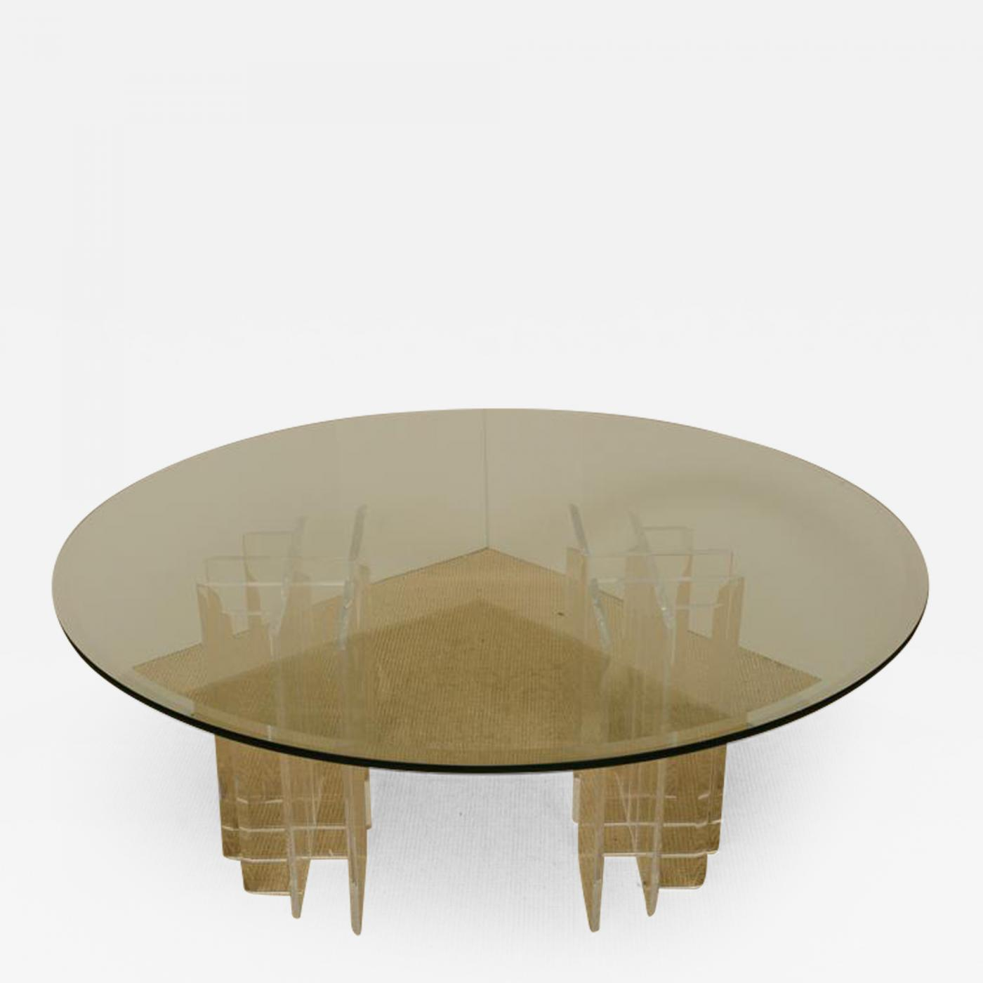 Round Glass Top Coffee Table Mid Century Round Glass Top Coffee Table With Two Part Lucite Base