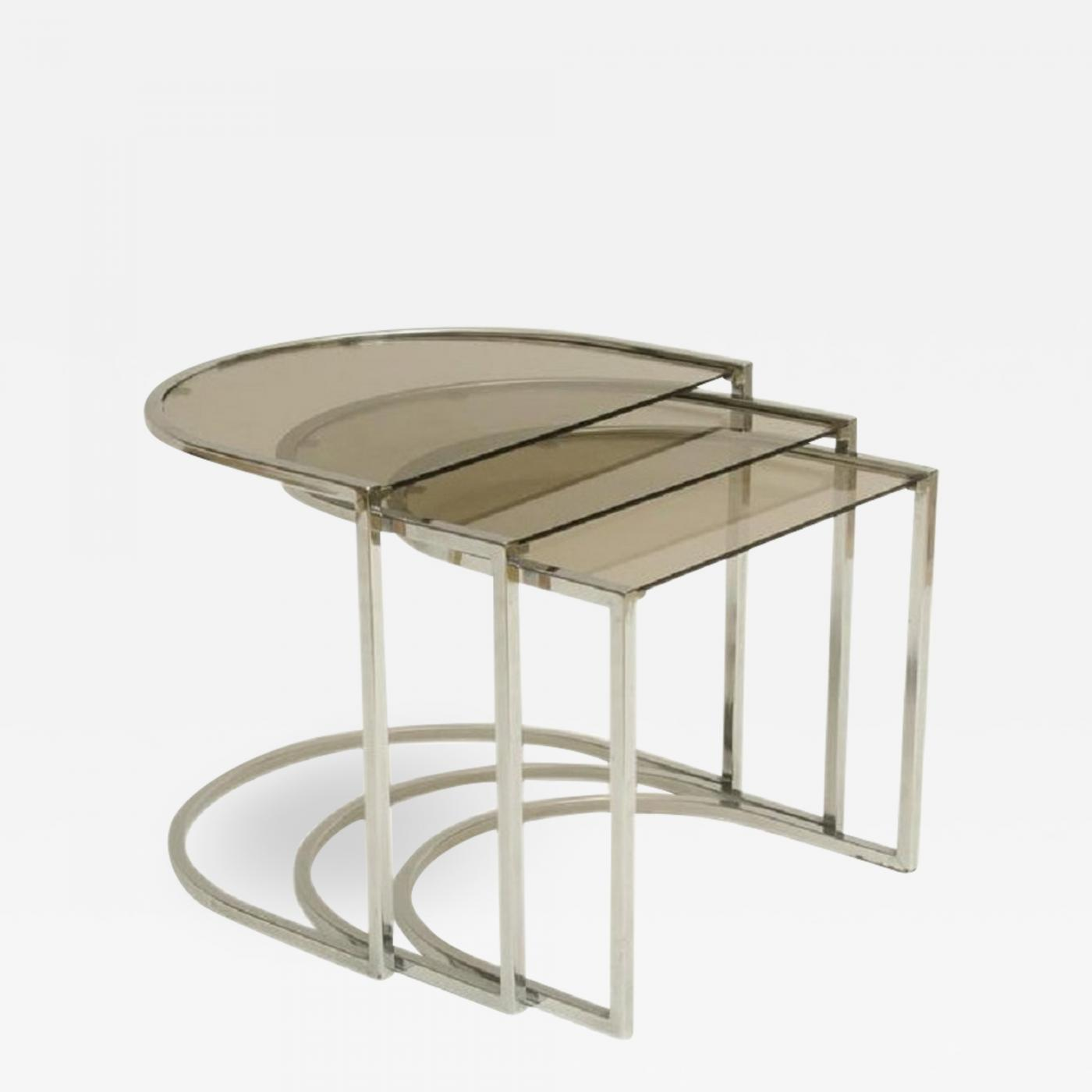 Glass Nesting Tables Milo Baughman Set Of Three Mid Century Glass And Chrome Nesting Tables By Milo Baughman