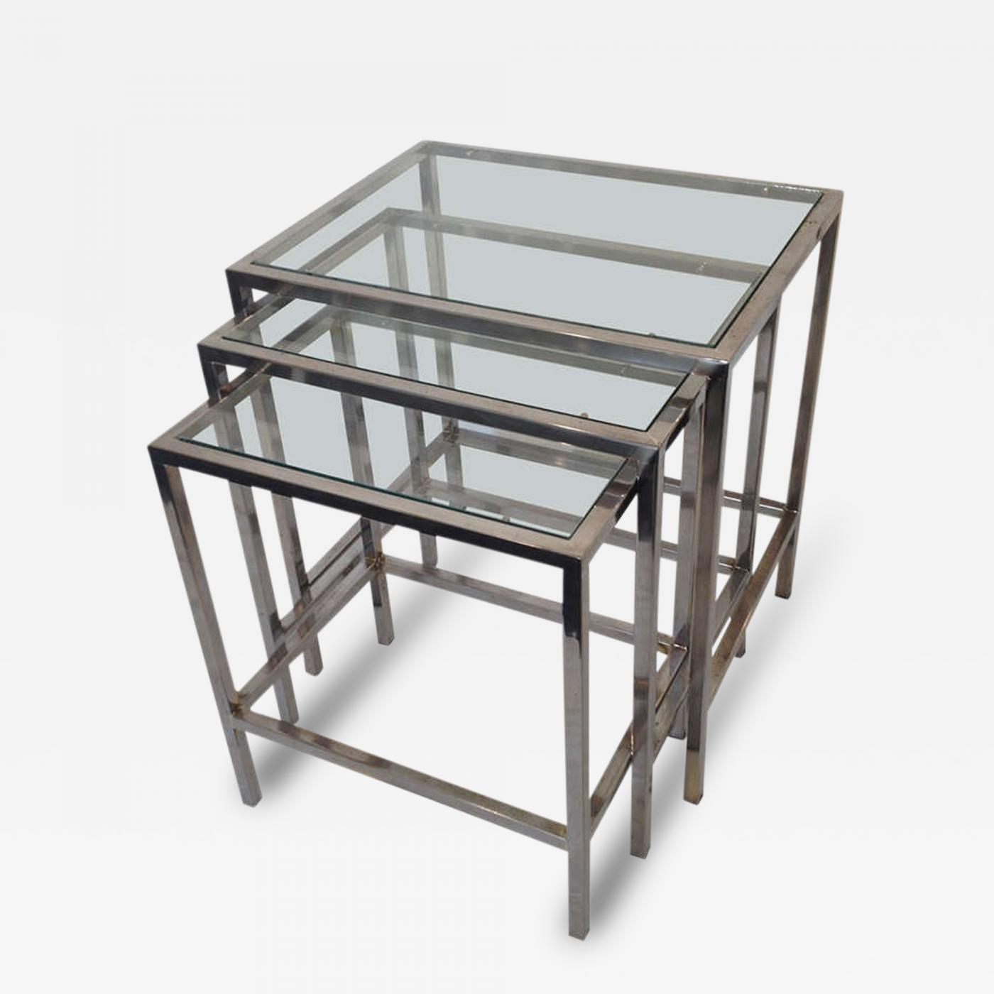 Glass Nesting Tables Milo Baughman Style Polished Chrome Glass Top Nesting Tables