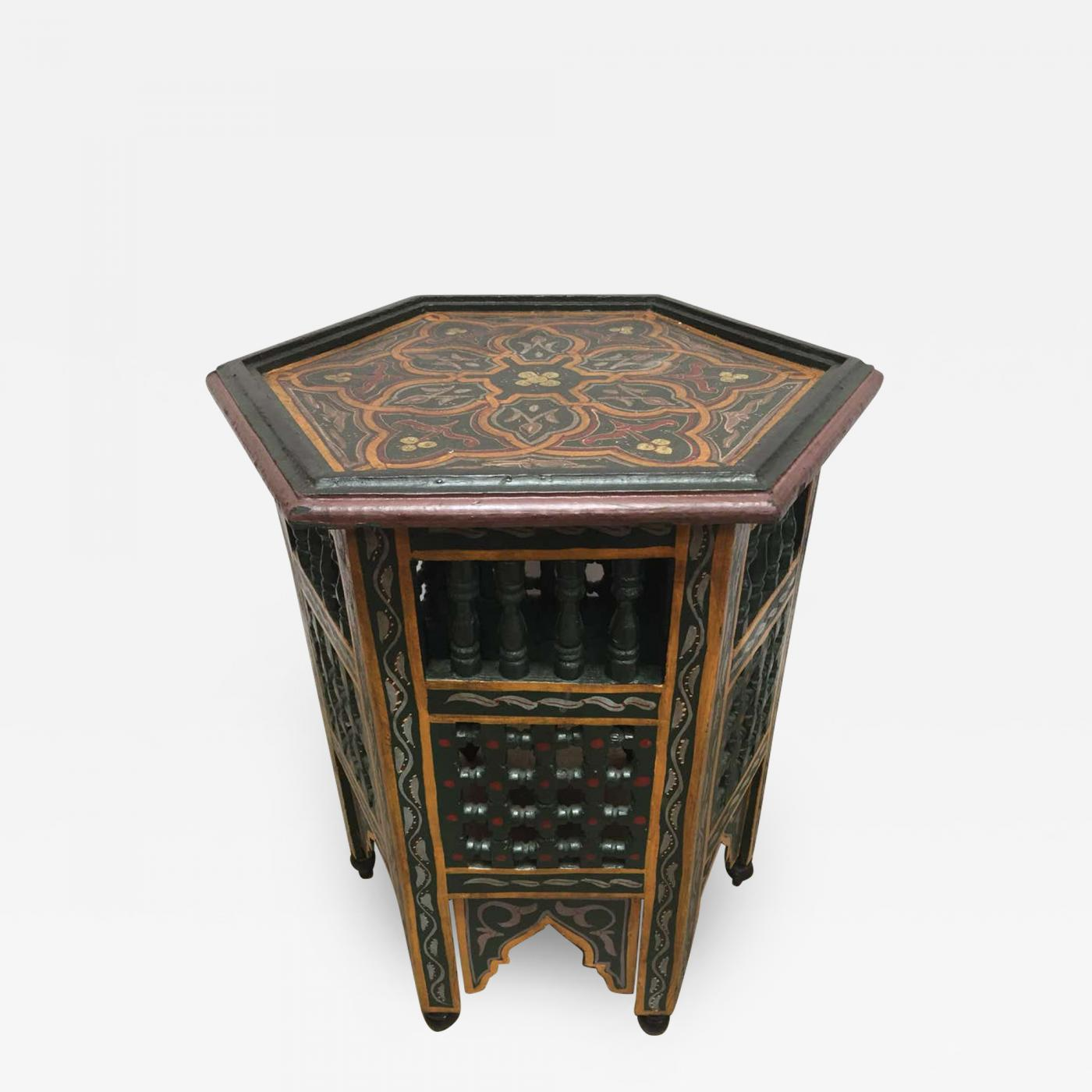 Moroccan Hand Painted Dark Green Side Table With Moorish Designs