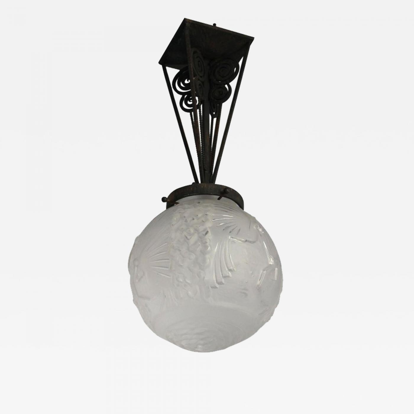 Art Deco Style & Light Muller Frères Fine French Art Deco Wrought Iron And Frosted Glass Pendant By Muller FrÈres
