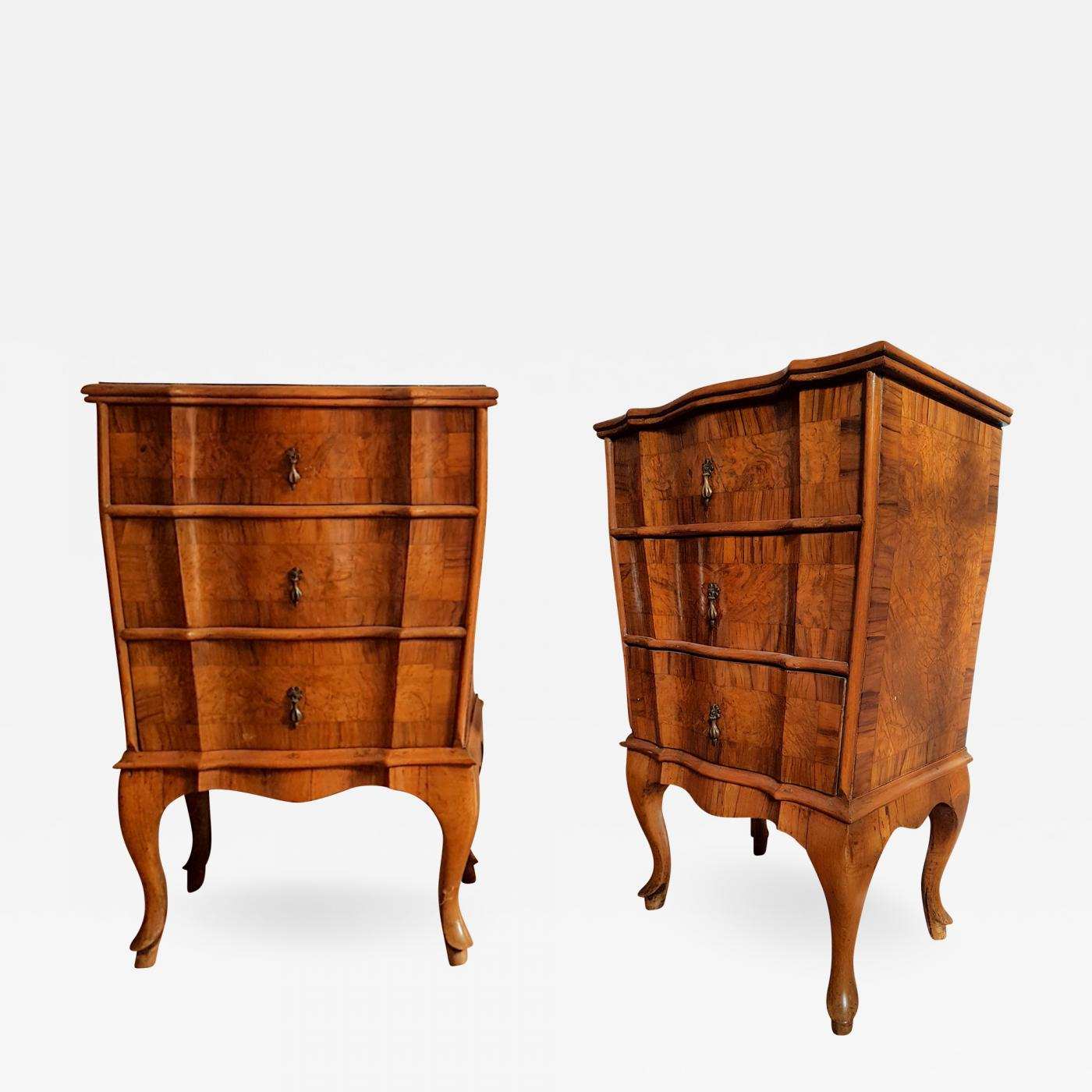 Provincial Bedside Tables Pair Of French Provincial Bedside Cabinets In Walnut Marquetry Early 1900s