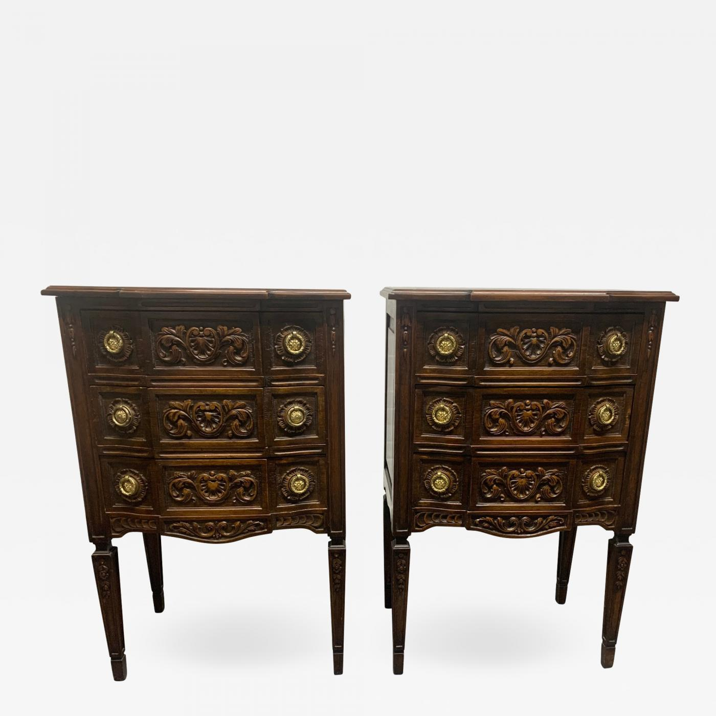 Pair Of Walnut Antique Belgium Chests