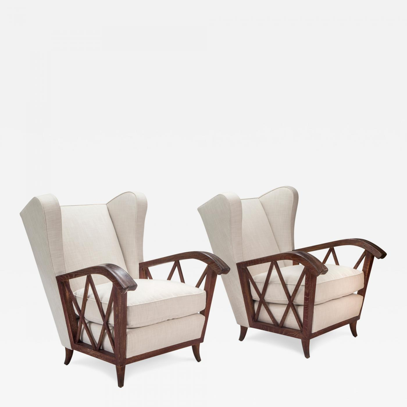 Chairs Comfortable Paolo Buffa Pair Of Comfortable Italian Cerused Wood And Upholstered Chairs