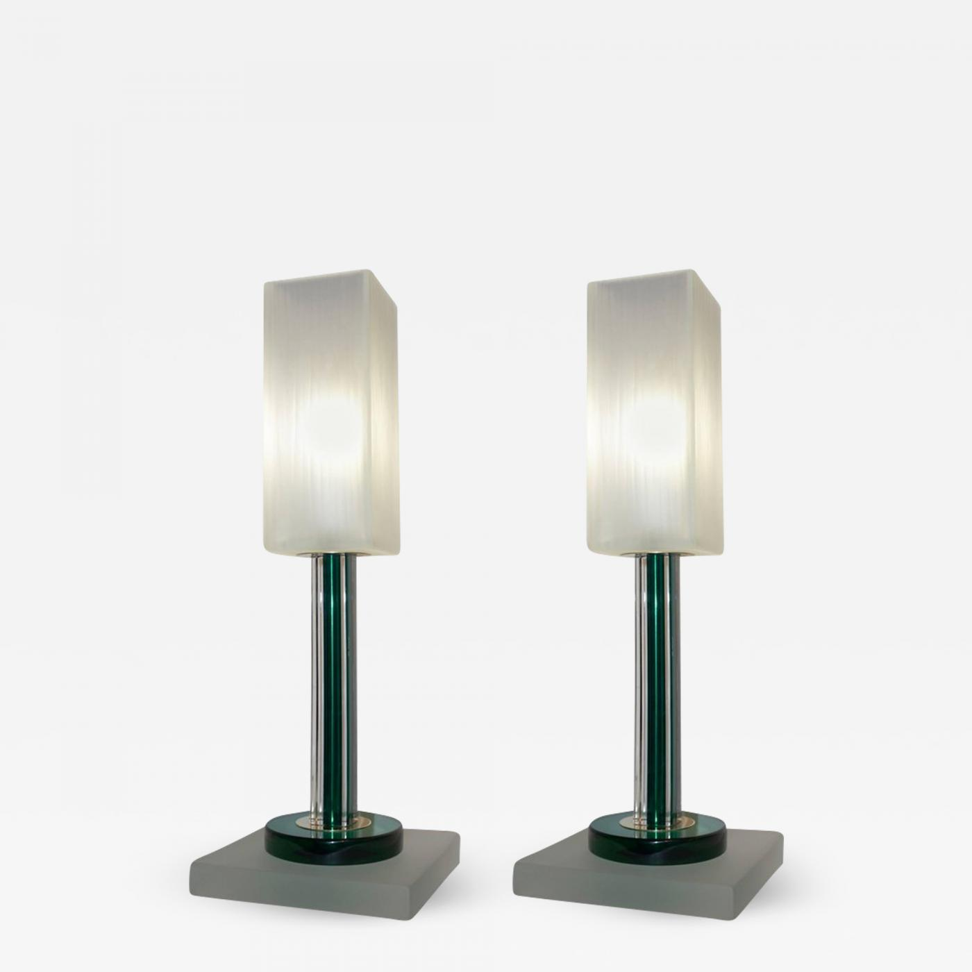 Vintage Table Lamps Paolo Venini Venini Vintage Green Pair Of Table Lamps With White Frosted Murano Glass Shades