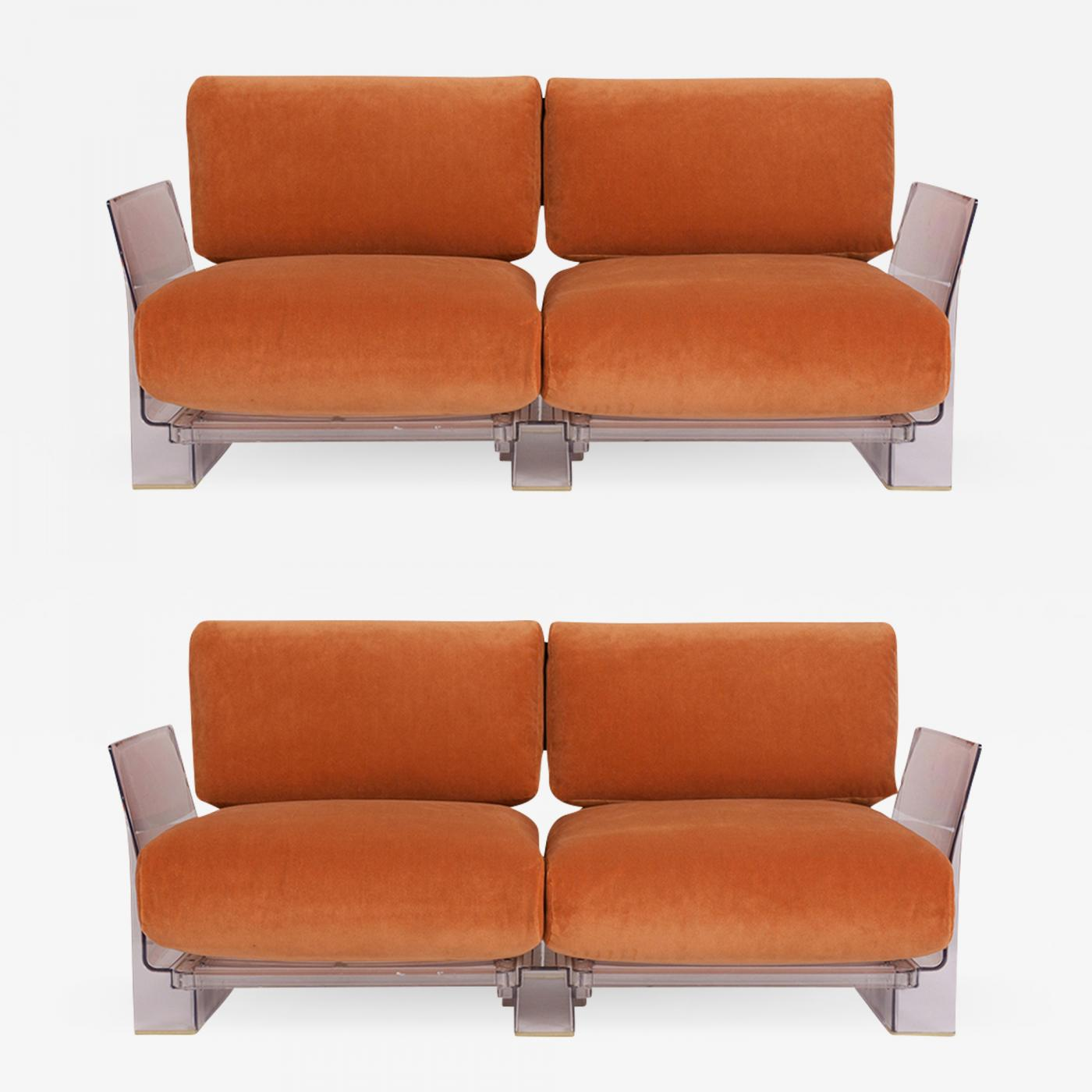 Kartell Sofa Piero Lissoni Pair Of Lucite Love Seats Sofas By Piero Lissoni For Kartell