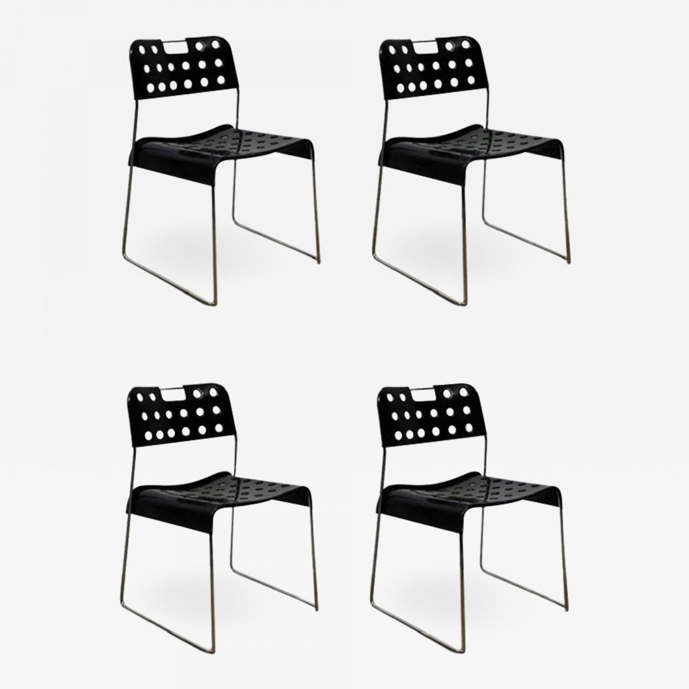 Rodney Kinsman Set Of Four Cool Omstack Perforated Metal Chairs By Rodney Kinsman