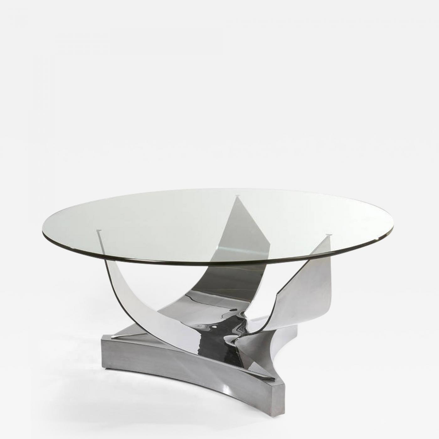 Modern Round Glass Dining Table Ron Seff Ron Seff Sculptural Round Stainless Steel And Glass Dining Table