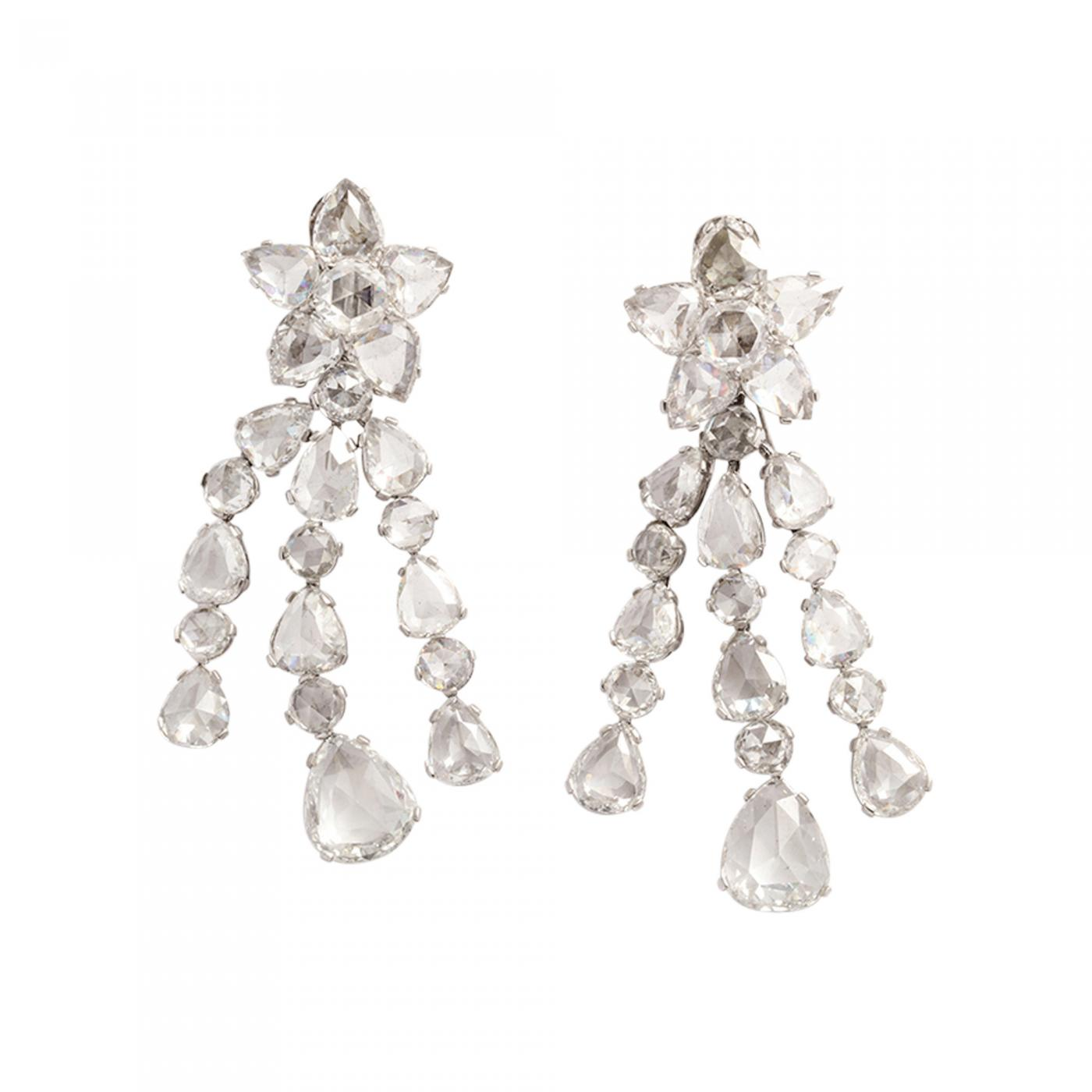 Rose Cut Diamond Star Earrings