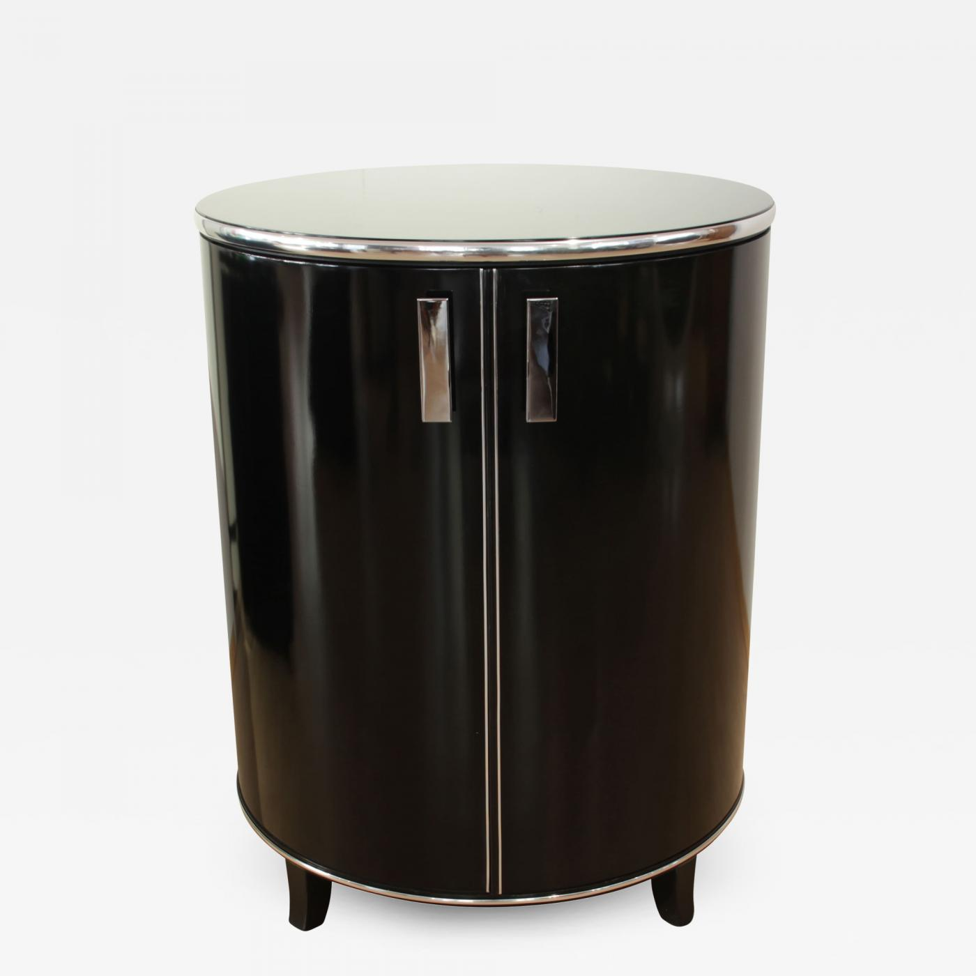 Art Deco Möbel Shop Round Art Deco Bar Cabinet Black Polished England Circa 1940