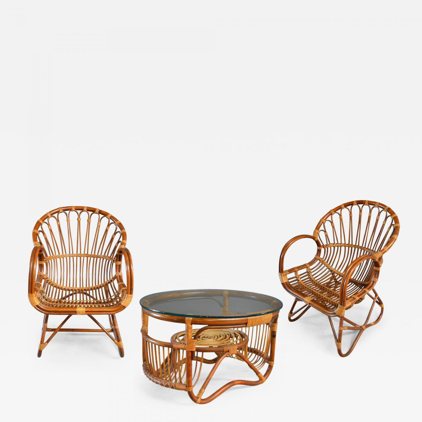 Rattan Chairs Sculptural Bamboo And Rattan Chairs With Matching Side Table