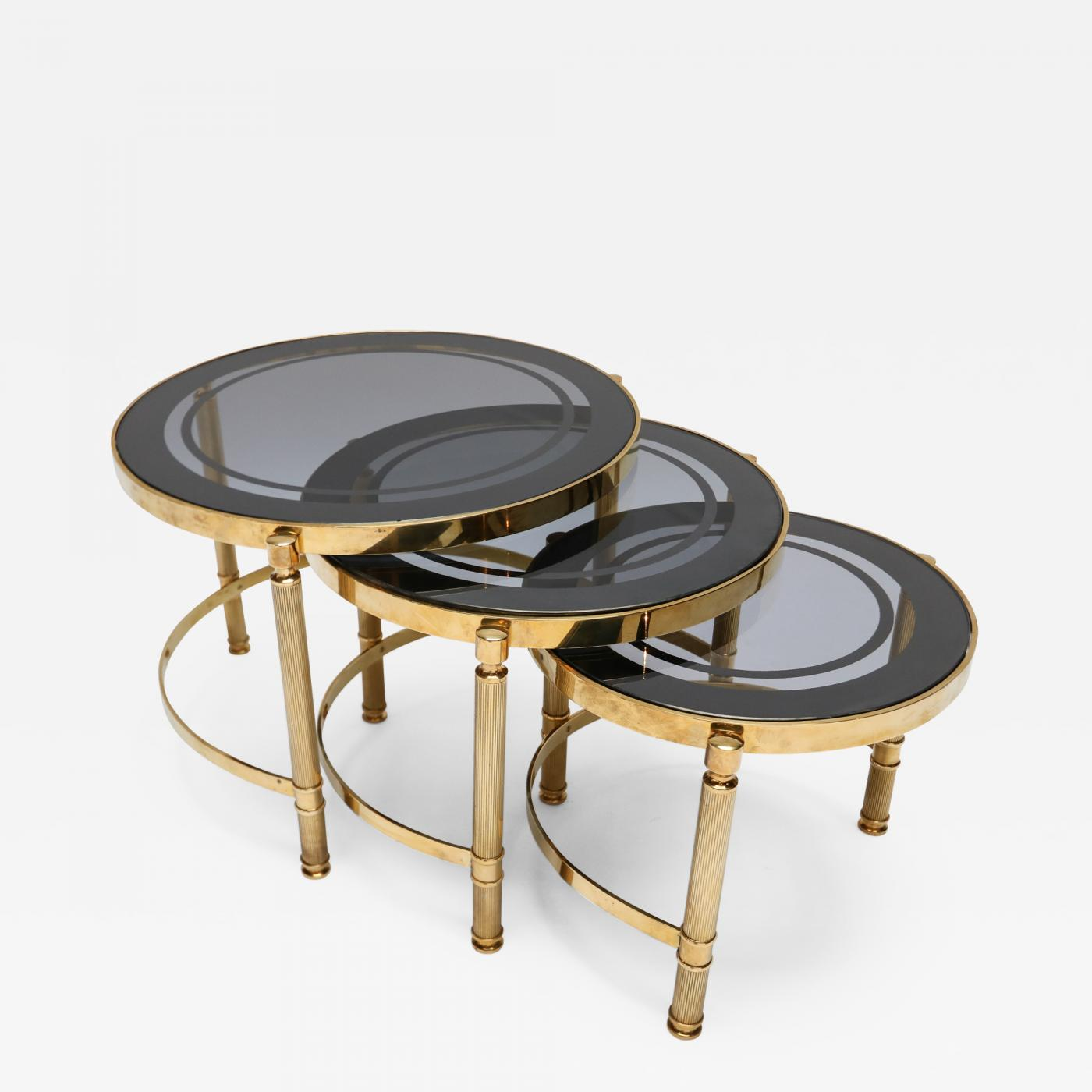 Glass Nesting Tables Set Of Three Brass Nesting Tables With Smoked Glass Tops