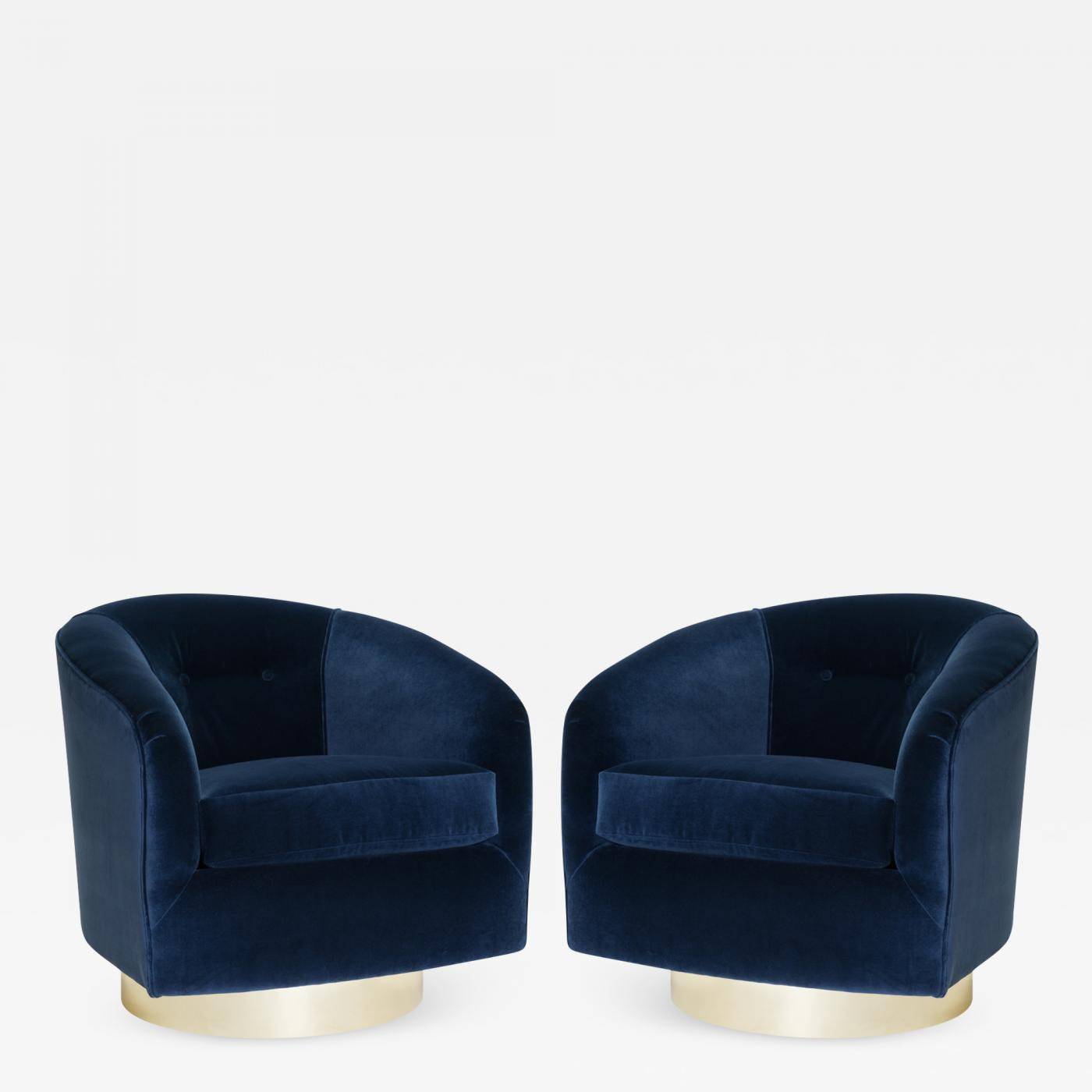 Tub Chairs Swivel Tub Chairs In Navy Velvet With Polished Brass Bases Pair