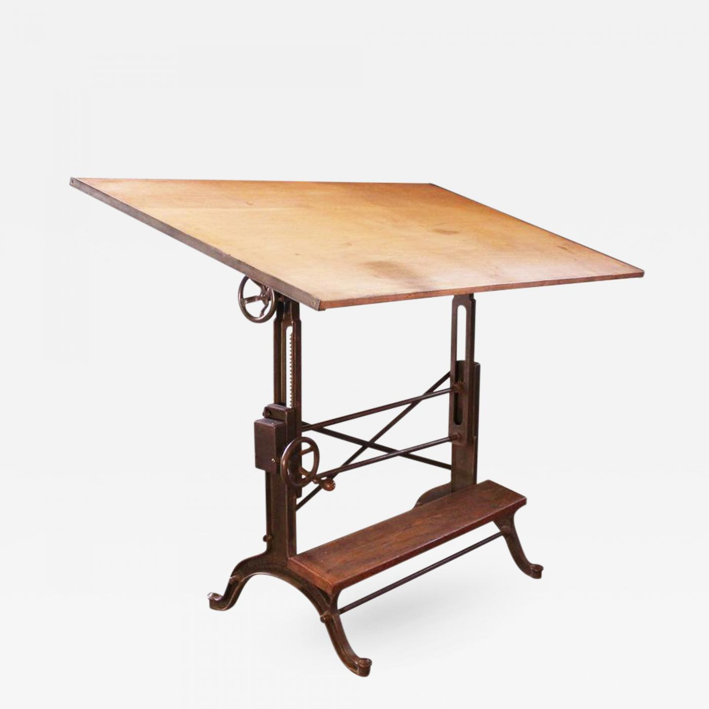 Adjustable Height Drafting Table Vintage Industrial Cast Iron And Wood Frederick Post Adjustable Drafting Table