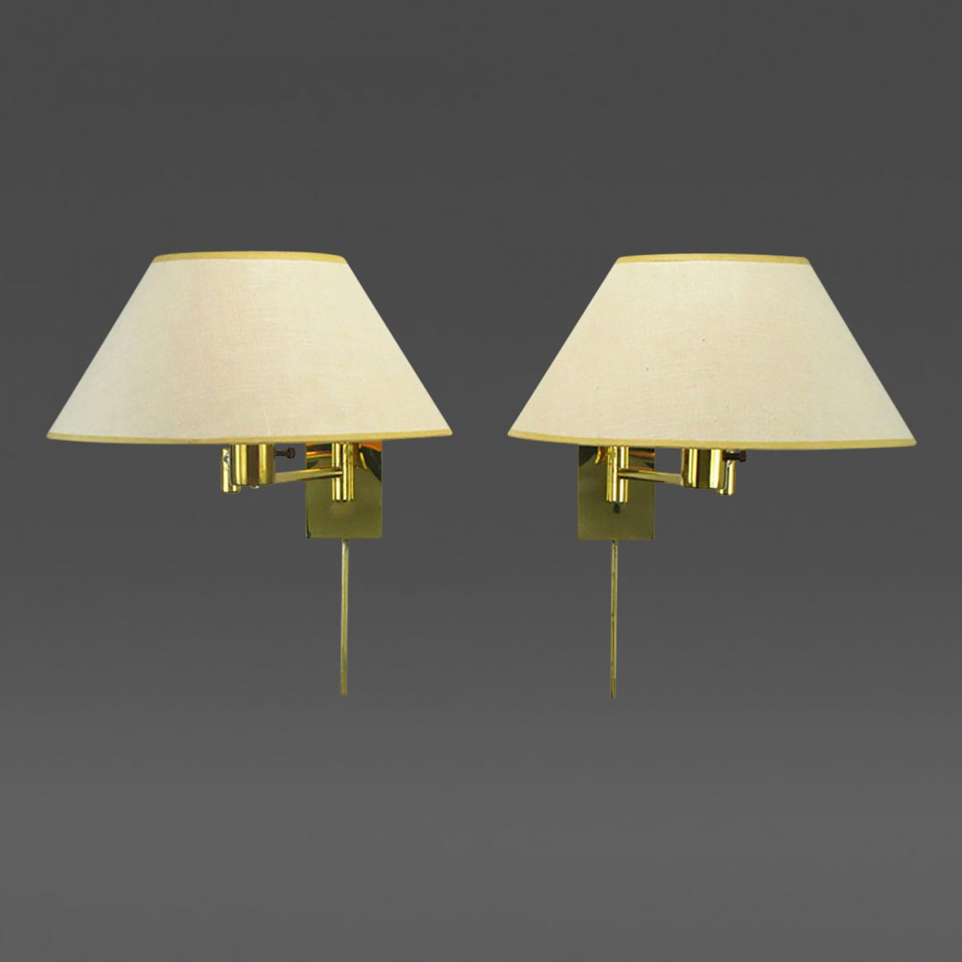 Lighting Wall Lights Walter Von Nessen Pair Of Walter Von Nessen Brass Swing Arm Wall Lamps