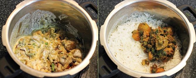 Layering rice over the gravy for hyderabadi veg dum biryani recipe