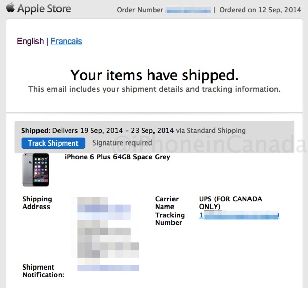 First iPhone 6 Pre-Orders Shipping in Canada as UPS Tracking Sent - ups signature release form