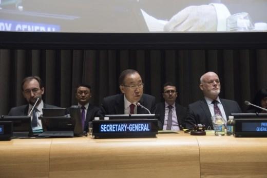 UN Secretary-General Ban Ki-moon addresses the commemoration event for the 30th anniversary of Declaration on Right to Development. Credit: UN Photo/Kim Haughton