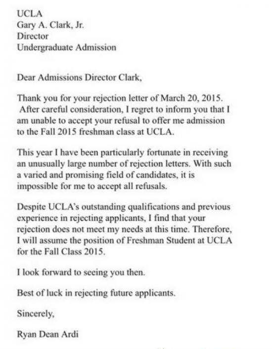 Thank you for your rejection\u0027 letter to UCLA director