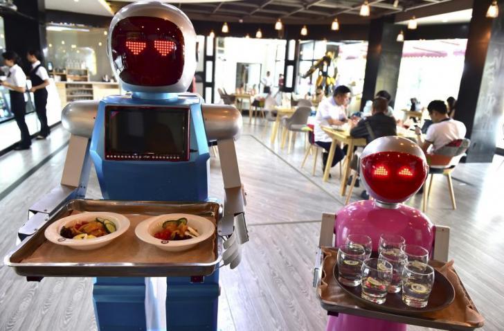 Robot food servers in Japan
