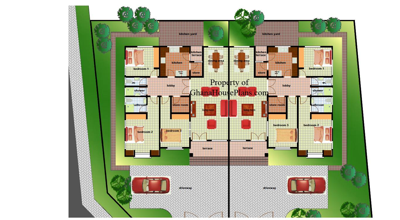 Bedroom House Plans In Addition Ghana 3 Bedroom Semi Detached House