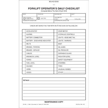 Forklift Operator Daily Checklist - Book Format w/ Carbon