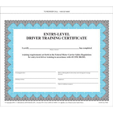 Entry-Level Driver Training Certificate - training certificate